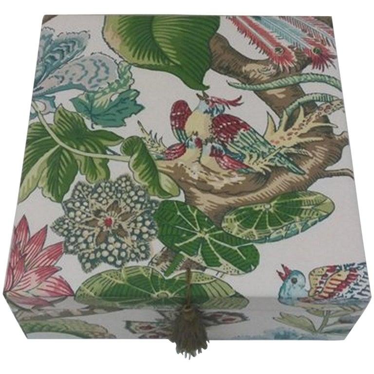 Cranley Garden Greeff Fabric Decorative Storage Box for Scarves  For Sale