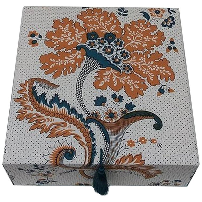 Amboise Pierre Frey Fabric Decorative Storage Box for Scarves Handmade in France For Sale