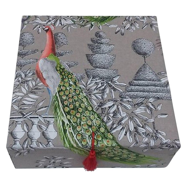 Birds Printed Fabric Decorative Storage Box for Scarves Handmade in France For Sale