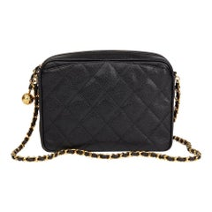 1994 Chanel Black Quilted Caviar Leather Vintage Camera Bag