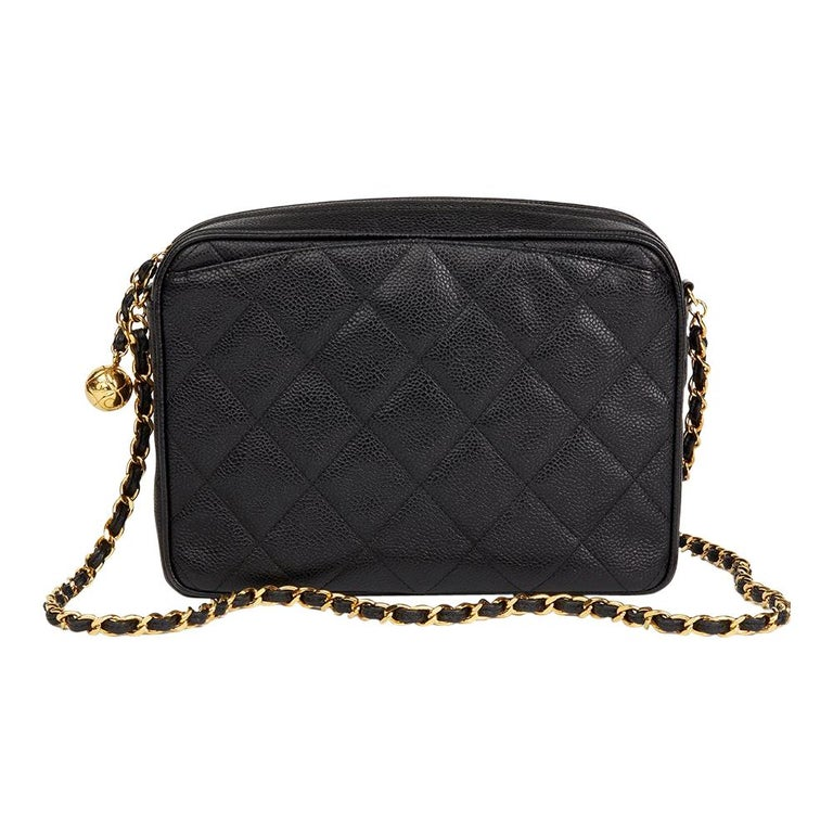 e5efafbf8f7c 1994 Chanel Black Quilted Caviar Leather Vintage Camera Bag For Sale.