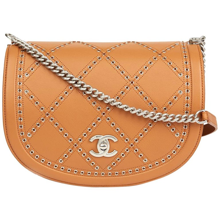905fa73e8d 2018 Chanel Tan Quilted Calfskin Coco Eyelets Round Flap Bag at 1stdibs