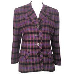 Oscar de la Renta 1980s Wool Button Jacket Size 16.