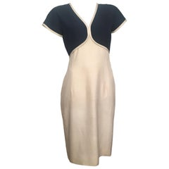 Valentino 1980s Silk Short Sleeve Navy & Cream Dress Size 6.