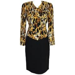 1980s Mila Schon Animalier Black Yellow Silk Skirt Suit
