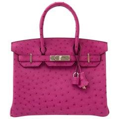 Hermès Birkin 30 Autruche Rose Pourpre PHW