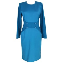 1980s Mila Schon Turquoise Wool Sheath Dress