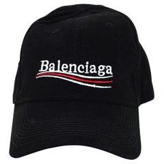 Balenciaga Black New Politic Logo Cap Sz L Unisex W/ Downturn Brim Velcro