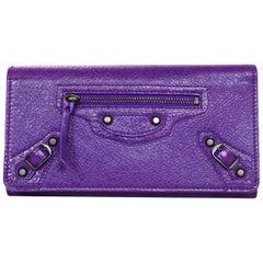 Balenciaga Purple Leather Classic Wallet W/ Brass Hardware & Dust Bag