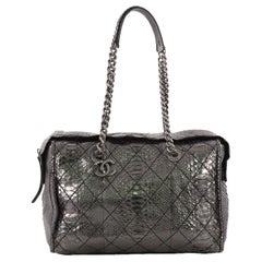 Chanel Aged Chain CC Charm Bowling Bag Quilted Python Large