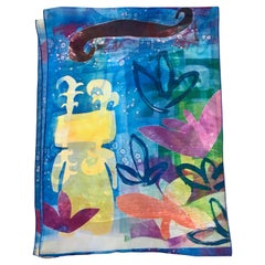The Rains Came, Chiffon scarf by Melanie Yazzie Navajo sheer blue yellow purple