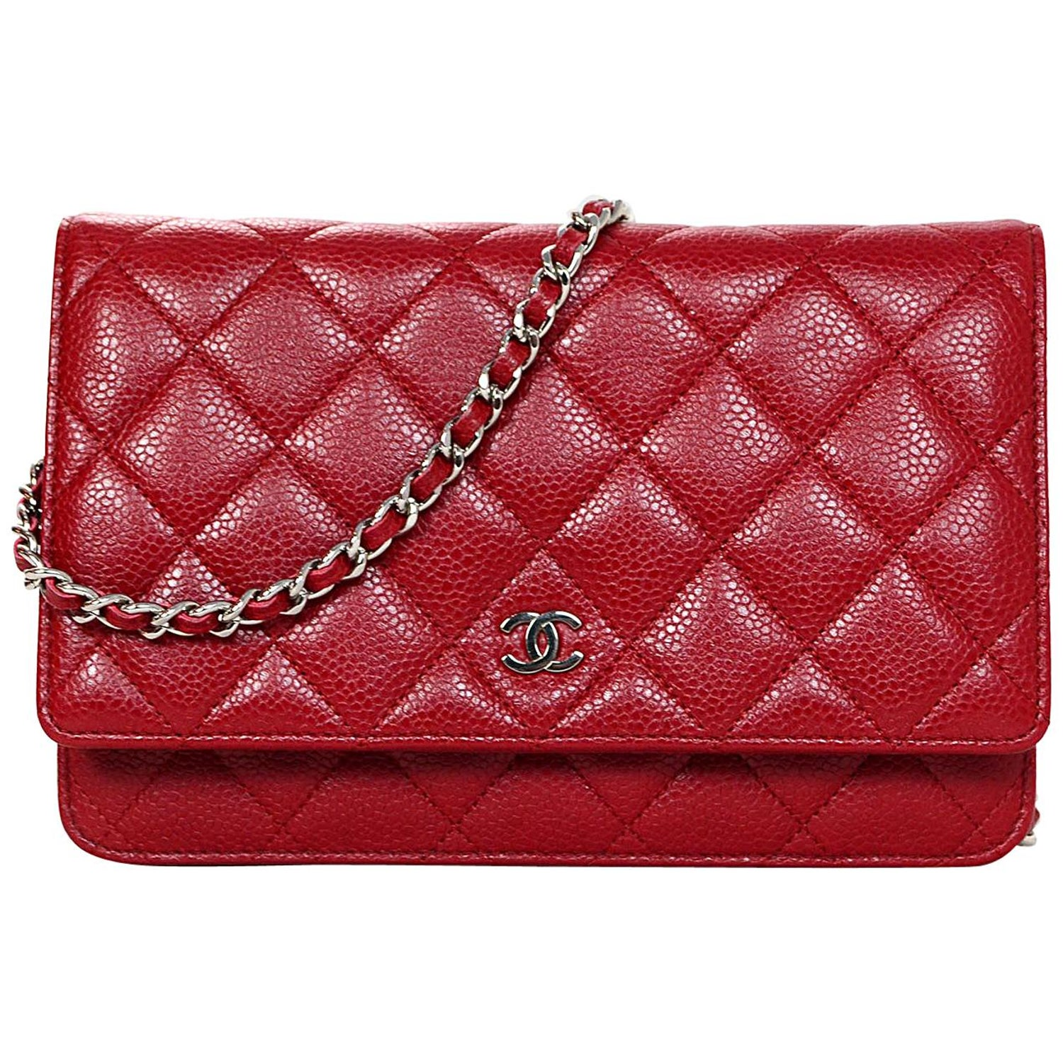 2e0d142300b3 Chanel Red Caviar Leather WOC Wallet On Chain Crossbody Bag w  Dust Bag at  1stdibs