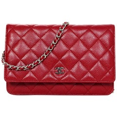 Chanel Red Caviar Leather WOC Wallet On Chain Crossbody Bag w/ Dust Bag