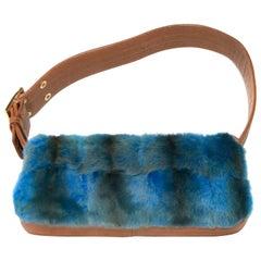 Gianni Versace Blue Mink Rustic Farmhouse Chic Bag