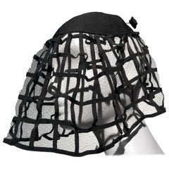 1940s Hattie Carnegie Black Ribbon Cage Veil Hat Never Worn