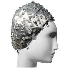 1960s Christian Dior Silver-White Satin Petite Bubble Hat W/ Sparkling Beadwork