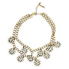 Oscar de la Renta Faux Pearl Charm Necklace