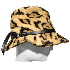 1960s Adolfo Réalités Leopard Print Faux Fur Fedora W/ Buckled Band