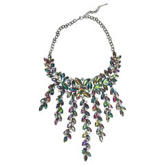 Oscar de la Renta Iridescent Glass Necklace Large