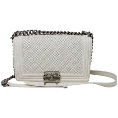 Chanel White Lambskin Perforated Old Medium Boy Bag SHW No. 19