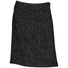 Chanel Black/White Tweed Skirt Sz 38