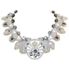 Holly Fulton Art Deco White & Ivory Fan Necklace Embellished w/ Crystals