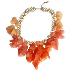 Oscar de la Renta Coral Resin Necklace Large
