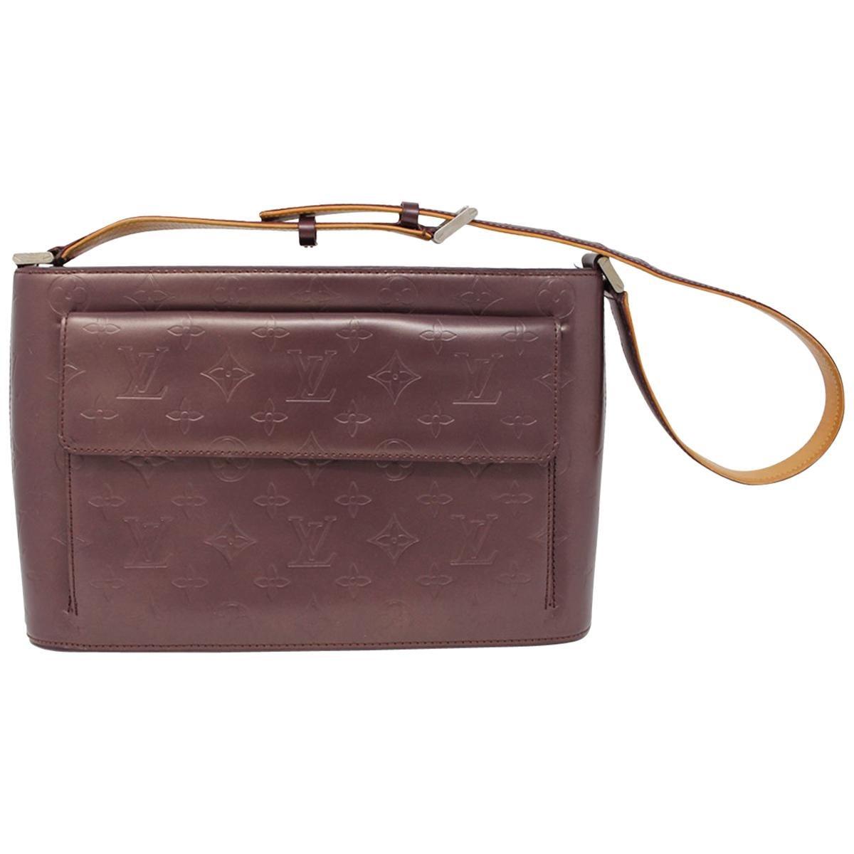 Louis Vuitton Allston Mat Purple Shoulder Bag Purse With Dust Bag