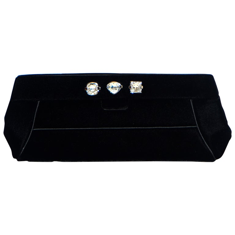 Judith Leiber Minimalistic Velvet Clutch W/ 3 Large Crystals & SilverTone Strap For Sale