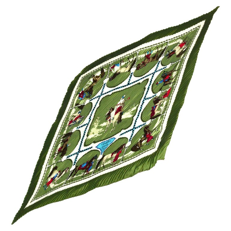 Hermes Green/Red/White Cavaliers Arabes Pleated Plisse Pleaty Silk Scarf For Sale