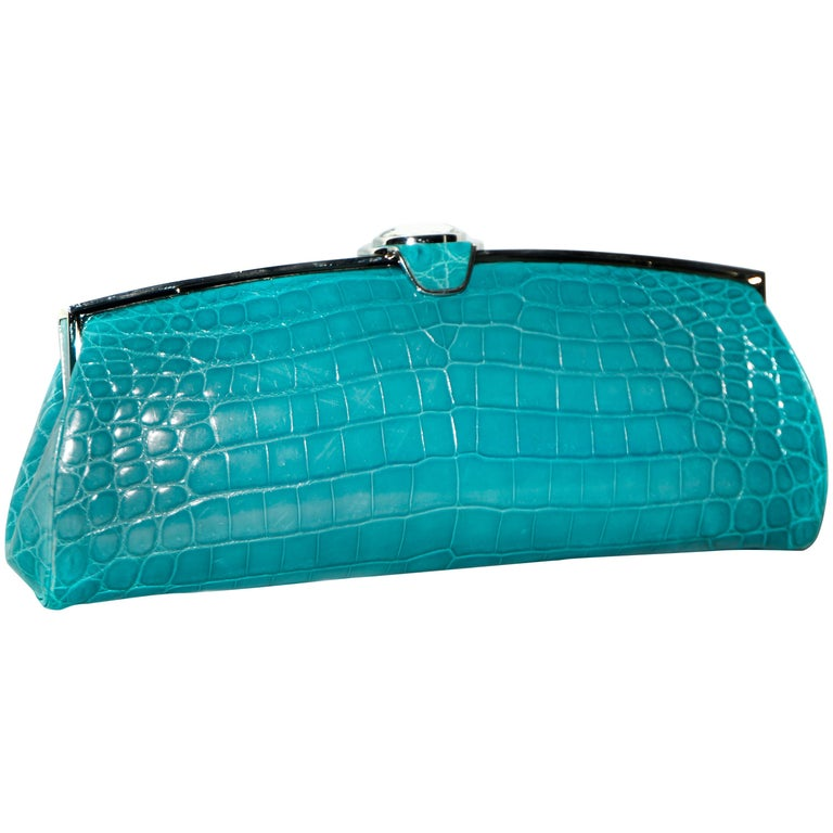 Judith Leiber Turquoise Croc Clutch With Crystal Top Closure For Sale