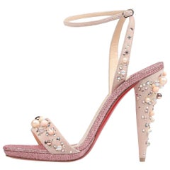 Christian Louboutin NEW Pink Suede Crystal Bead Evening Sandals Heels in Box