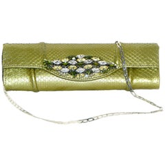 Carlos Falchi Python Metallic Green with Crystal Brooch Flap Clutch