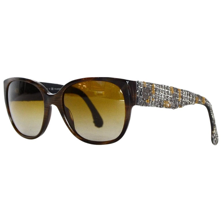Chanel Brown Sunglasses W/ Tweed Arm & Boy CC Logo W/ Case & Dust Bag For Sale