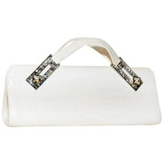 Judith Leiber White Art Deco  Croc Clutch With Crystal Handle