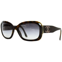 Chanel Tortoise Resin Sunglasses W/ CC On Arms & Case