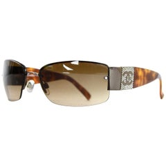 Chanel Brown Resin Rimless Sunglasses W/ Crystal CC On Arms