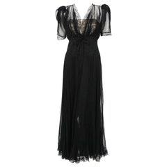 1930's Hattie Carnegie Pleated Black Chiffon & Lace Puff Sleeve Bias-Cut Dress