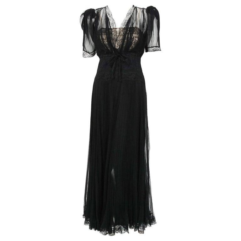 1930's Hattie Carnegie Pleated Black Chiffon & Lace Puff Sleeve Bias-Cut Dress  For Sale