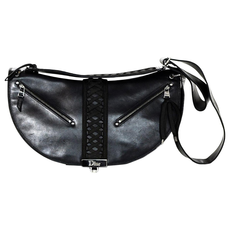 0167b3e590 Christian Dior Black Leather Saddle Messenger Bag W  Corset Lace Detail For  Sale at 1stdibs