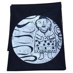 She is Unique, Melanie Yazzie navy poly crepe de chine scarf Navajo