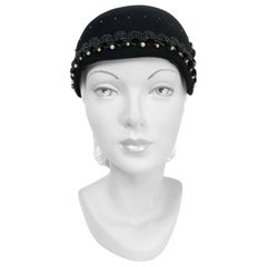 1930s Black Fur Felt Skull Cap with Beadwork
