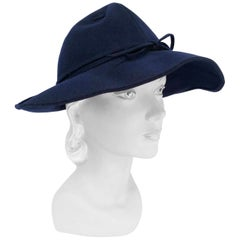 1930s Navy Wide Brimmed Fedora WIth Lacing Detail