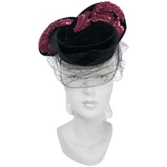 1940s Black Velvet Hat With Magenta Sequin Wings and Draped Veil