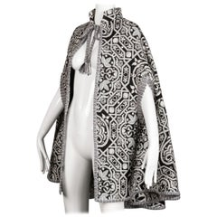 1970s Vintage Black, White + Gray Woven Tapestry Cape Coat/ Jacket (Spain)
