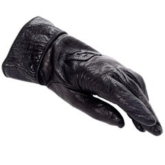 Vintage Fendi Monogram Black Leather Ladies Gauntlet Gloves