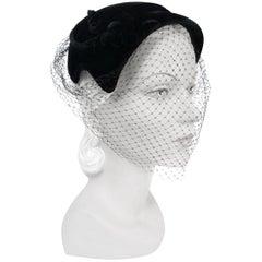 1950s Black Velvet Cocktail Hat with Tie Back Net
