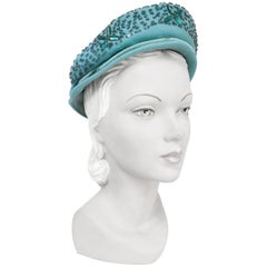 1940s Robin Egg Blue Felt Hat with Beadwork