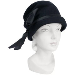 1960s Lilli Black Cashmere Cloche with Satin Charmeuse Bow and Band
