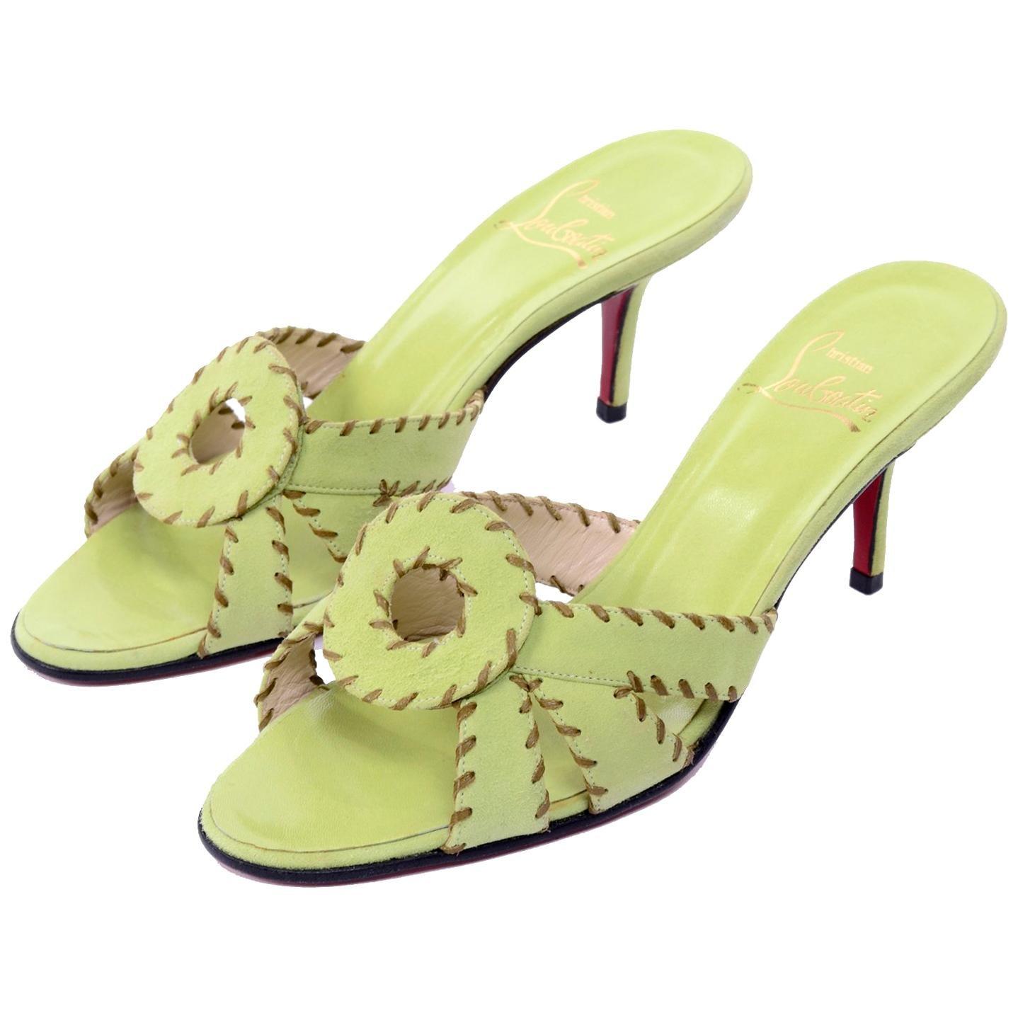Christian Louboutin Lime Green Open Toe Sandal Shoes w/ Heels in Size 38